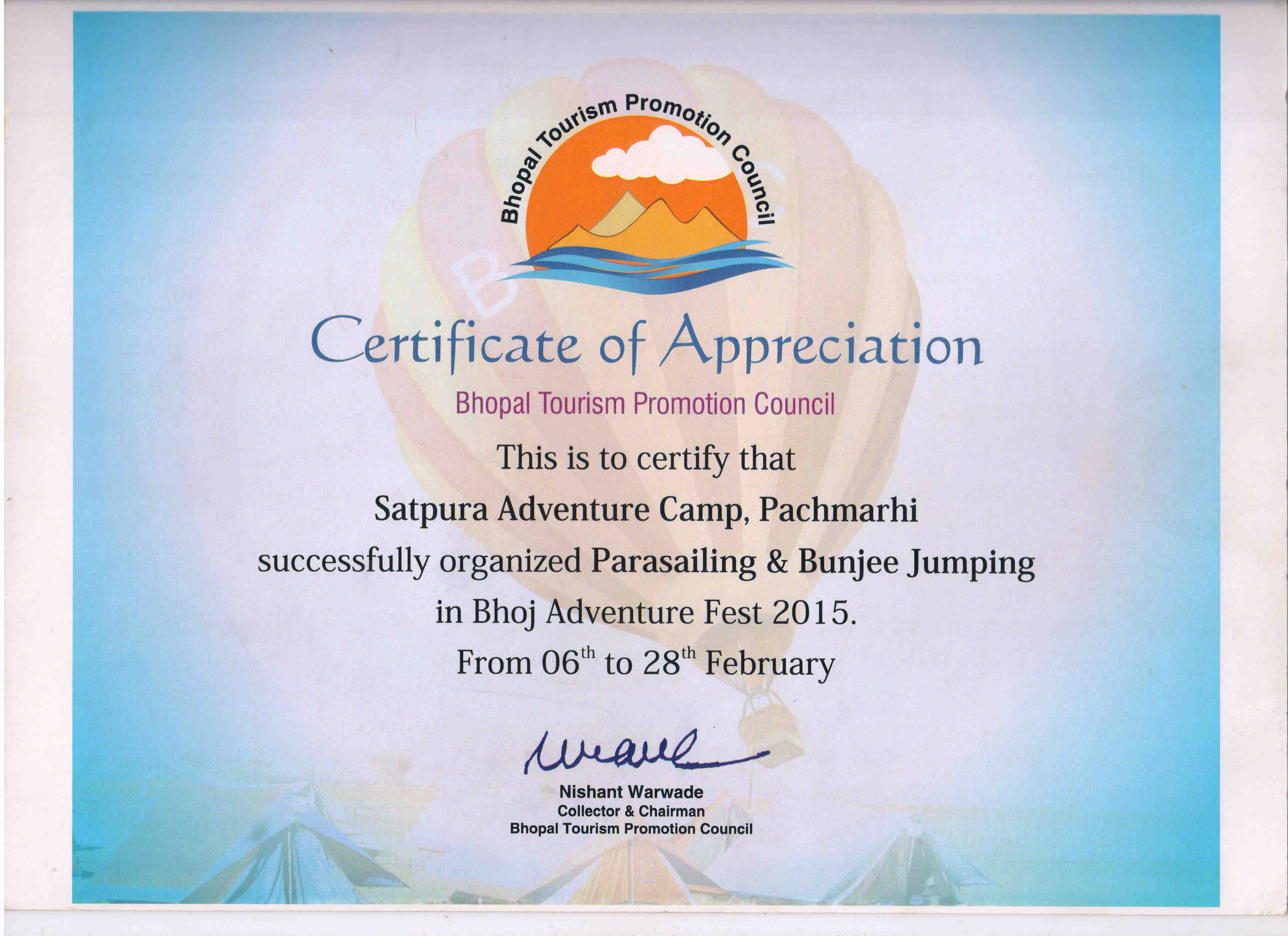 Appreciation Letter Satpura Adventure Club